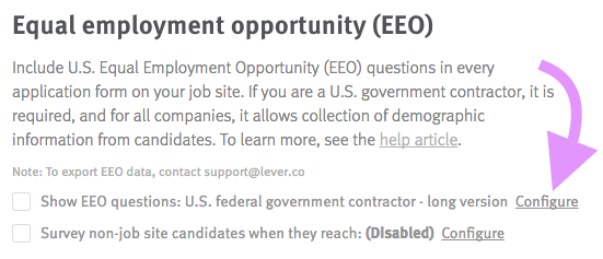 How do I enable EEO questions and export candidate responses? – Lever