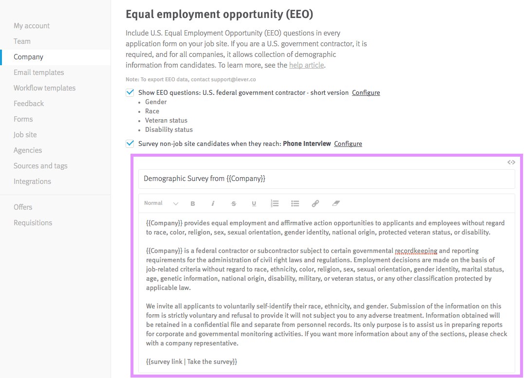 How do I send EEO surveys to sourced or referred candidates Lever – Orientation Feedback Form