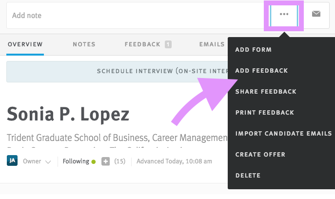 Already Has Access To The Candidate Profile Once You Pull Up Can Use Ellipsis Icon In Top Action Bar Add A Form Directly