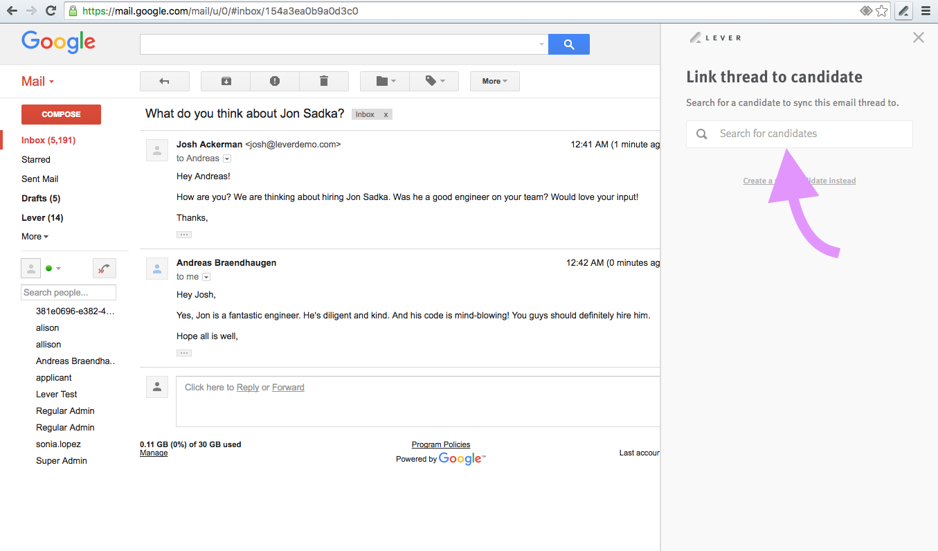 Add Email On Gmail how do i add an email thread to an existing candidate