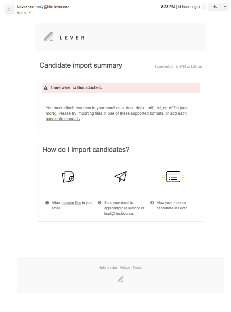 How do I forward candidates to Lever via email? – Lever Support